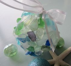 Sea Glass Christmas Ornament -  Beach Decor, Nautical Beach Glass Ornament. $25.00, via Etsy.