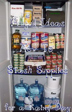 Emergency Preparedness Supplies – Frugal Ideas Stashing supplies for a rainy day can provide a buffer for you through hard times. Gathering emergency supplies doesn't have to be costly.Fist of 8 tips Emergency Preparedness Food, Emergency Food Storage, Emergency Food Supply, Emergency Preparation, Emergency Supplies, Survival Food, Survival Prepping, Survival Skills, Survival Supplies