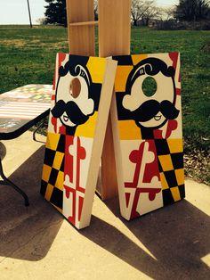 My finished natty boh Maryland flag cornhole boards
