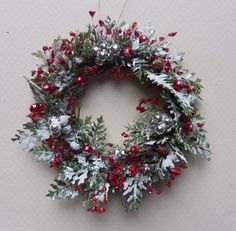 Cyber Monday SALE NOW for Frosted Miniature Christmas Wreath in Red ...