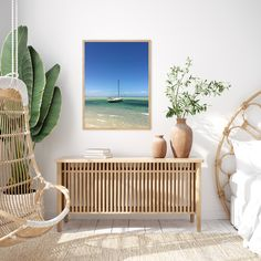 This picture shows a sailing boat floating calmly and peacefully on the shore of Shark Bay, Australia. Painted Ladies, Palm Springs, Modern Wall Art, Mid-century Modern, Modern Spaces, Modern Living, Pattern Wall, Decoration Photo, Vintage Inspiriert