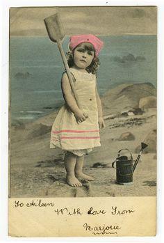 c 1904 child Children Cute SEASIDE CUTE GIRL Beach toys roto photo postcard