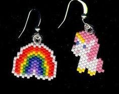 Unicorns and Rainbows Beaded Earrings Throw Back to 1980's
