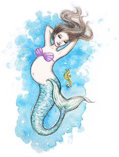mermaid baby shower is this what you had in mind? Mermaid Nursery, Mermaid Art, Mermaid Bedroom, Mermaid Paintings, Mermaid Jewelry, Vintage Mermaid, Baby Shower Parties, Baby Shower Themes, Shower Ideas