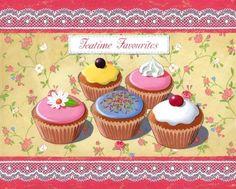 Bakery Kitchen, Kitchen Art, Cupcake Art, Cupcake Cakes, Sweets Art, Fudge Pops, Dessert Illustration, Bakery Supplies, Love Cupcakes
