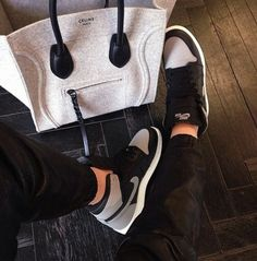 black and grey nike high tops and celine luggage tote