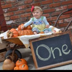 Pumpkin/first birthday photo shoot- I wouldn't have her in a wheelbarrow but something with pumpkins for sure since it will be october Birthday Girl Pictures, 1st Birthday Photos, 1st Birthday Girls, 1st Birthday Parties, Birthday Ideas, Halloween First Birthday, October Birthday, Fall Birthday, Pumpkin Patch Birthday