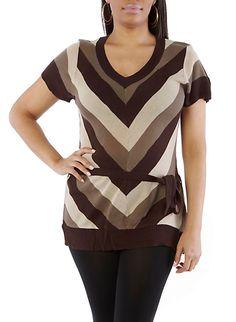 Plus-Size Chevron Knit Tunic,BROWN,large
