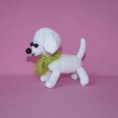 Crochet white toy dog 12 cm 47 inches  handmade amigurumi