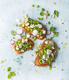 Crisp radishes pair perfectly with creamy goat's cheese in this summery bruschetta recipe.