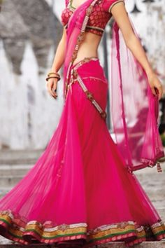 Hot pink half saree — #saree #sungoddess. Brought to you by SunGoddess Magazine: Igniting the Powerful Goddess WIthin http://sungoddessmagazine.com