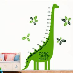 Green Dinosaur Animal Growth Chart Height Measure Wall Sticker Decor Kids Room for sale online Dinosaur Wall Decals, Kids Room Wall Stickers, Vinyl Wall Art, Wall Wallpaper, Height Chart, Family Wall, Modern Family, Single Piece, Refrigerator