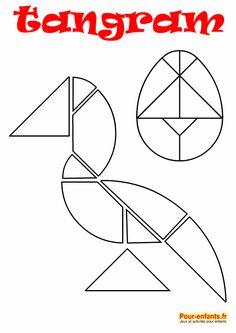 tangram oeuf de Pâques et oiseau à imprimer en noir et blanc. Dessin au trait. Pour enfants. Infant Activities, Preschool Activities, Tangram Puzzles, Shapes Worksheets, Puzzles For Kids, Math Games, Colouring Pages, School Fun, Paper Dolls