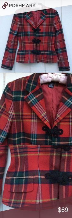 """Vintage 80's Ralph Lauren riding jacket plaid S Vintage 80's Ralph Lauren riding jacket plaid excellent cord detail fitted flared faux pockets wool exterior viscose lining.int condition. Bust 36"""" Waist 29"""" Vintage size 6 fits more like a 4. Size S Ralph Lauren Jackets & Coats Blazers"""