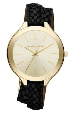 Free shipping and returns on MICHAEL Michael Kors Michael Kors 'Slim Runway' Embossed Leather Strap Watch, 42mm at Nordstrom.com. A slimmer version of an iconic menswear-inspired watch features a sleek sunray dial, high-polished case and double-wrap python-embossed leather strap.