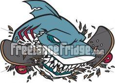 Shark Chomping Skateboard Vector Cartoon Character