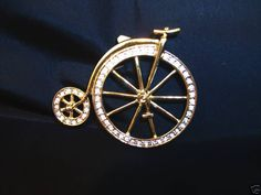 Brooch Rhinestone Pin First Bicycle  Antique Vintage