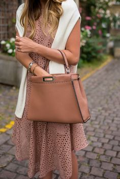 Eyelet Tibi dress, Fendi bag, Silver May bangles