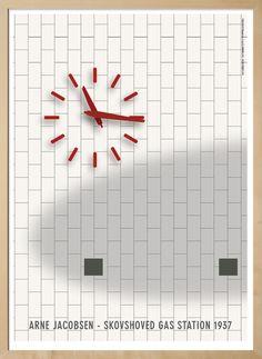 Plakat af uret på Arne Jacobsens Gas Station i Skovshoved