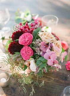Pink garden rose floral centerpiece