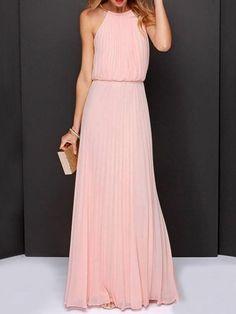 Peach Pink, Cut Away, Pleated, Chiffon, Maxi Dress