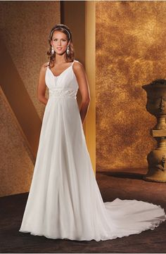 Elegant Spaghetti Straps Empire Wasit Beaded Wasitline Chiffon Satin Wedding Dress for Brides