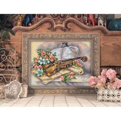 Style; Still Life Style Cross Stitch Kits 14ct White 11ct Print Embroidery Diy Handmade Needlework Wall Home Decor Fashionable In purple Adaptable Rose Piano