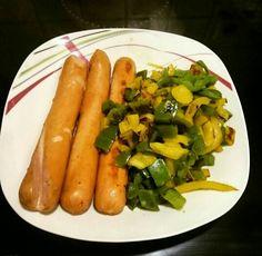 Bernerwürstel mit Paprika Gemüse