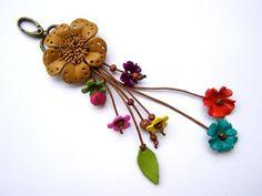 Sieraden, bloemen, leer, lederen bloemen hanger