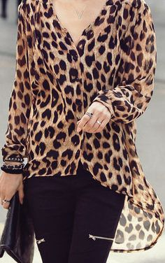 Animal prints in fashion are always popular. I particularly love this leopard chiffon blouse.