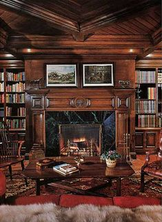 Michael Jacksons library. I could live in this room forever. ~ check out that gorgeous fireplace and mantel