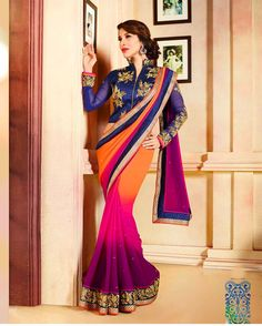 Blooming Orange Shaded Georgette Designer Saree Product Code: 2019 Shop Now : http://www.shivoham.biz/product_info.php/karma/saree/blooming-orange-shaded-georgette-designer-saree-p-1085 Call Or WhatsApp - 09712933378 Email - Care@shivoham.biz