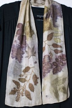 Eco printed silk scarf with maple, Eucalyptus and rose leaves. Diane Gamm
