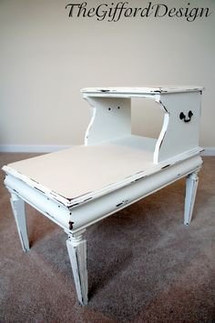 two tiered white painted end table