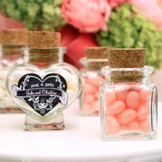 Unique heart shaped or shaped glass favor jars with cork available at fabulous prices! Click or call us toll-free Favors and Flowers offers brides the most up-to-date wedding favor packaging ideas from stylish favor glass favor jars to hig Wedding Jars, Food Wedding Favors, Homemade Wedding Favors, Inexpensive Wedding Favors, Unique Wedding Favors, Bridal Shower Favors, Crystal Wedding, Wedding Supplies, Unique Weddings