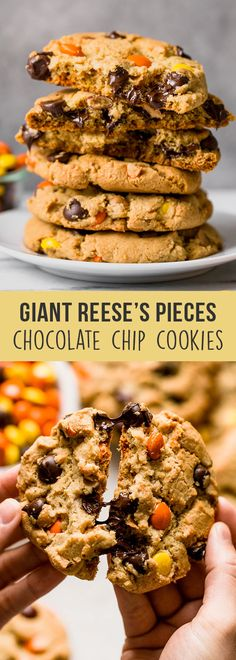 Giant Reese's Pieces Chocolate Chip Cookies