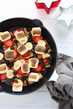 Red, White, and Blue Skillet S'mores  3 Scoops of Sugar