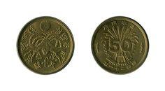 Moneta in ottone da 50 Sen (五十銭) risalente al 1946, ovvero al ventunesimo anno dell'epoca Showa (昭和二十一年), e raffigurante una fenice (鳳凰), un uccello che in Giappone è emblema dell'autorità imperiale, nonché simbolo di saggezza ed energia... (continua)