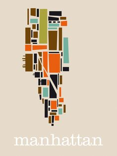 manhattan print by bo lundberg #geometric #patterns #maps #nyc