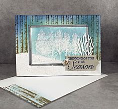 Winter Woods and Swirly Frames with Masking – Lavender Thoughts. Love the background! Chrismas Cards, Christmas Cards 2018, Stampin Up Christmas, Holiday Cards, Christmas Stencils, Winter Karten, Leaf Cards, Wood Stamp, Stamping Up Cards