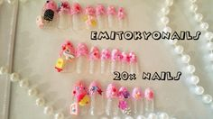 20x Ice creanm 3d Japanese Nails,Hand Painted False Nails,Fake Nails+Glue