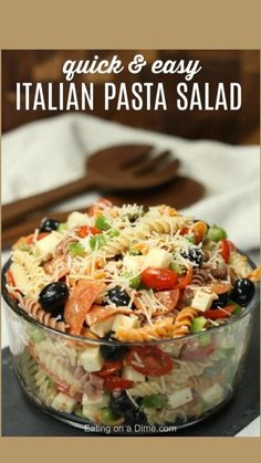 Easy Pasta Salad Recipe, Best Pasta Salad, Easy Salad Recipes, Pasta Recipes, Tortellini, Penne, Italian Dressing Pasta Salad, Italian Pasta, Italian Salad