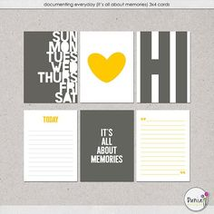 Free Documenting Everyday (It's All About Memories) Journal Cards from Dunia Designs {on Facebook}