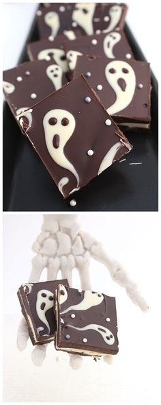 """Ghastly Candy Bark"" EASY last minute Ghost Chocolate Bark Halloween Party Treat Recipe via The Simple Sweet Life"