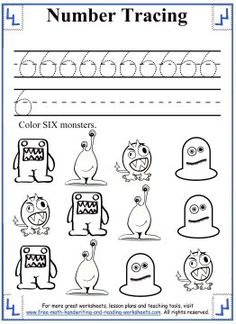 Tracing Numbers - Worksheets and Activities - Color SIX monsters.