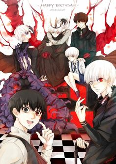 Tokyo ghoul All Kanekis in one picture.