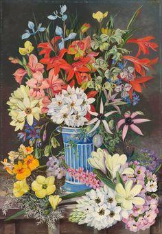 409. Old Dutch Vase and South African Flowers. - Marianne North - Kew Gardens Botanical Prints - Kew Botanical Prints