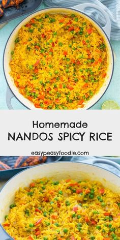 Want to make Nandos Spicy Rice at home? Then this Homemade Nandos Spicy Rice rec. Want to make Nandos Spicy Rice at home? Then this Homemade Nandos Spicy Rice recipe is for you! And the best news? It only takes 20 minutes… and one pan! Spicy Rice Recipe, Spicy Recipes, Indian Food Recipes, Chicken Recipes, Cooking Recipes, Healthy Recipes, Flavoured Rice Recipes, Nandos Chicken Recipe, Nandos Peri Peri Chicken