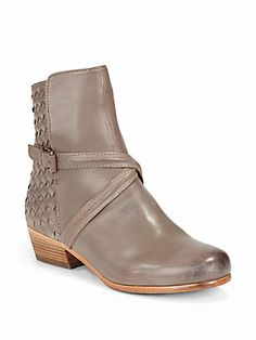 Joie Jackson Woven Leather Trim Ankle Boots