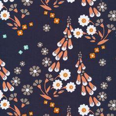 Foxgloves Navy - Foxglove collection by Aneela Hooey for Cloud 9 Fabri   Simplifi Fabric